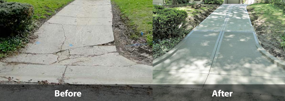 Concrete Pavement Repair Before And After Richmond Blacktop